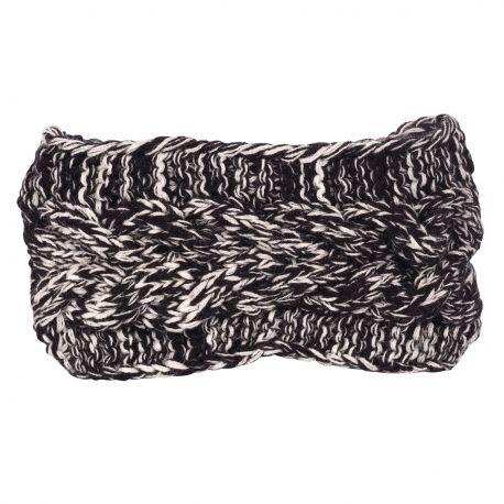 Bandeau tricot - Bandeau large maille chinée noir et blanc