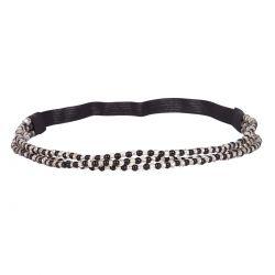 Headband 3 rangs perle blanche et noire  - Headband Perle