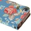 Etui portefeuille Iphone 4 / 4S Bleu imprimé Fleurs