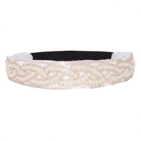 Headband mariage blanc perle nacrée - Headband Blanc