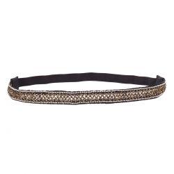 Headband noir fil doré perle argentée - Headband Noir