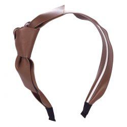 Serre tête noeud simili cuir marron - Serre-tête Femme