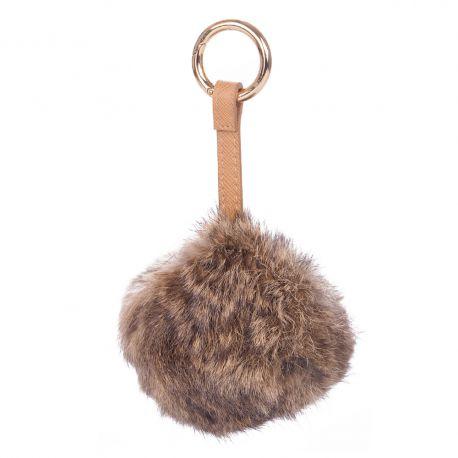 Porte clés pompon taupe