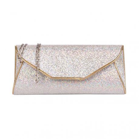 pochette soire brillante argente et dore rabat u sac de soire mariage - Pochette Argente Mariage