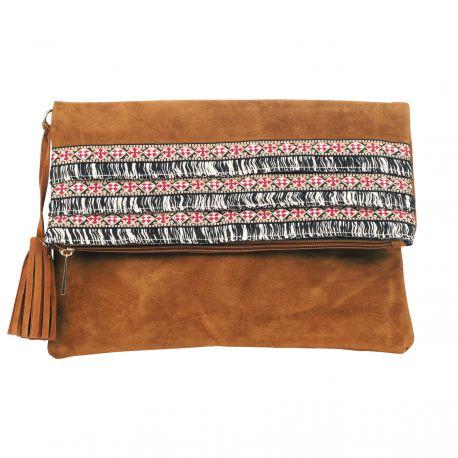 Pochette rabat camel bande ethnique - Maroquinerie Femme