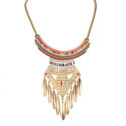 Collier plastron doré perle ethnique - Bijoux Femme