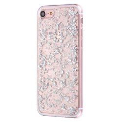 Coque Iphone 7 silicone transparente feuille argent
