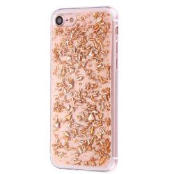 Coque Iphone 7 silicone transparente feuille or
