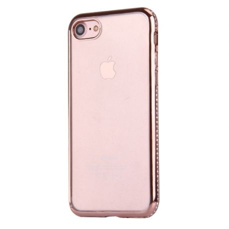 Coque Iphone 7 silicone transparente rose gold et strass