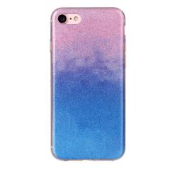 Coque Iphone 7 silicone paillette dégradé rose et bleu
