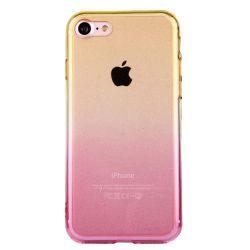 Coque Iphone 7 silicone transparente dégradé jaune et rose