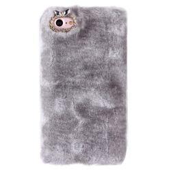Coque Iphone 7 fourrure grise