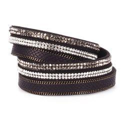 Bracelet Manchette Multirangs Noir Serpent - Bracelet Fantaisie Femme