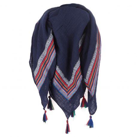 Maxi Foulard Coton Bleu marine Pompon - Foulard Femme Oversize