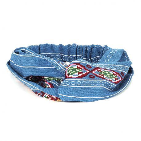 Bandeau Turban Ethnique Bleu - Bandeau Cheveux