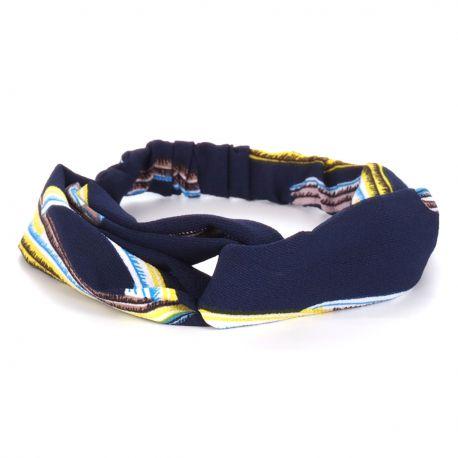 Bandeau Turban Bleu marine et Jaune - Bandeau Cheveux