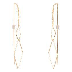 Boucles d'oreilles Fines Longues Losanges - Boucle d'oreille Femme