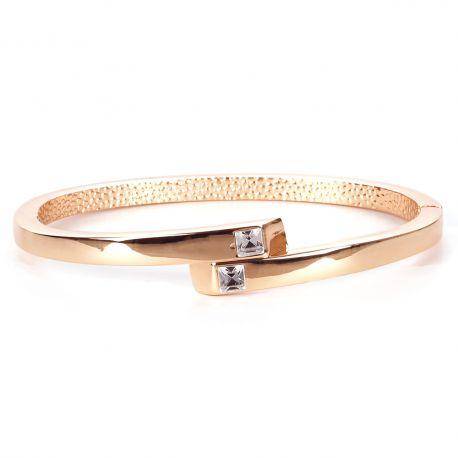 Bracelet Jonc Croisé Strass Doré - Bracelet Fin