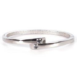 Bracelet Jonc Croisé Strass Argenté - Bracelet Fin