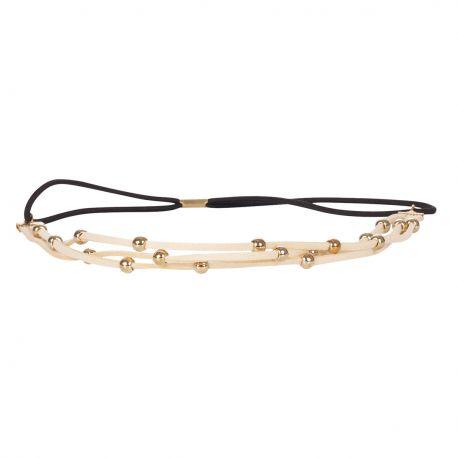 Headband suédine perles dorées crème - Headband Doré
