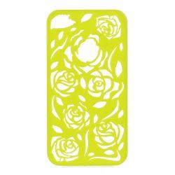 Coque Iphone 4/4S Vert anis sculptures fleurs