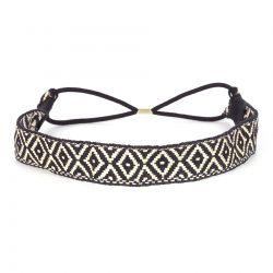 Headband Ethnique Tissé Noir et Blanc - Headband Noir