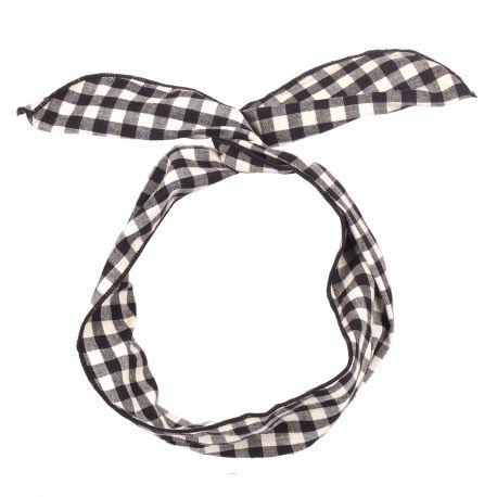 Bandeau Cheveux Vichy Noir et Blanc - Bandeau Vintage