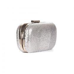 Minaudière argentée maille et métal - Sac de soirée - Mariage