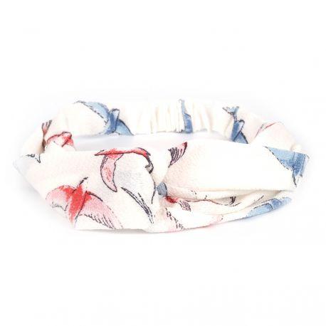 Bandeau cheveux turban blanc oiseaux