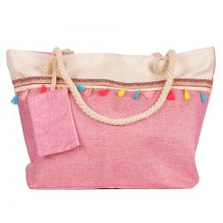 Sac Cabas Boho Rose Broderies Pompons Colorés
