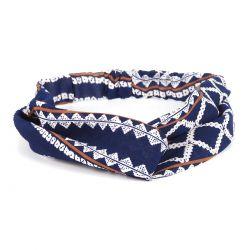 Bandeau cheveux turban bleu marine motif ethnique
