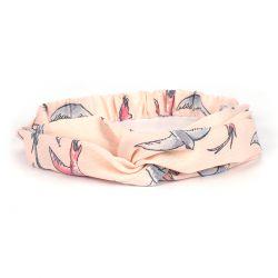 Bandeau cheveux turban rose poudré oiseaux