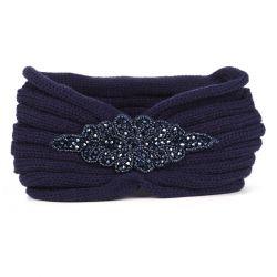 Bandeau tricot - Bandeau Bijoux Maille Bleu marine