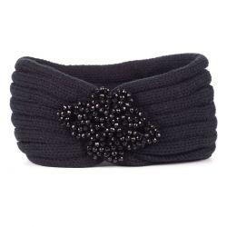 Bandeau Bijoux - Bandeau Turban Maille Noire Perles Noires