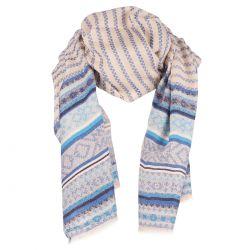 Echarpe Fine Tissée Ethnique Bleu - Pashmina