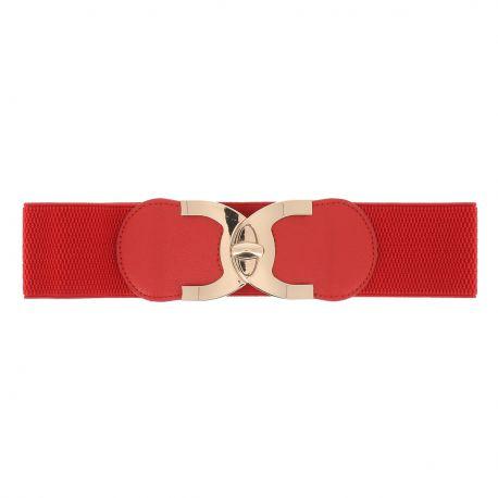 Ceinture corset élastique rouge boucle tourniquet doré