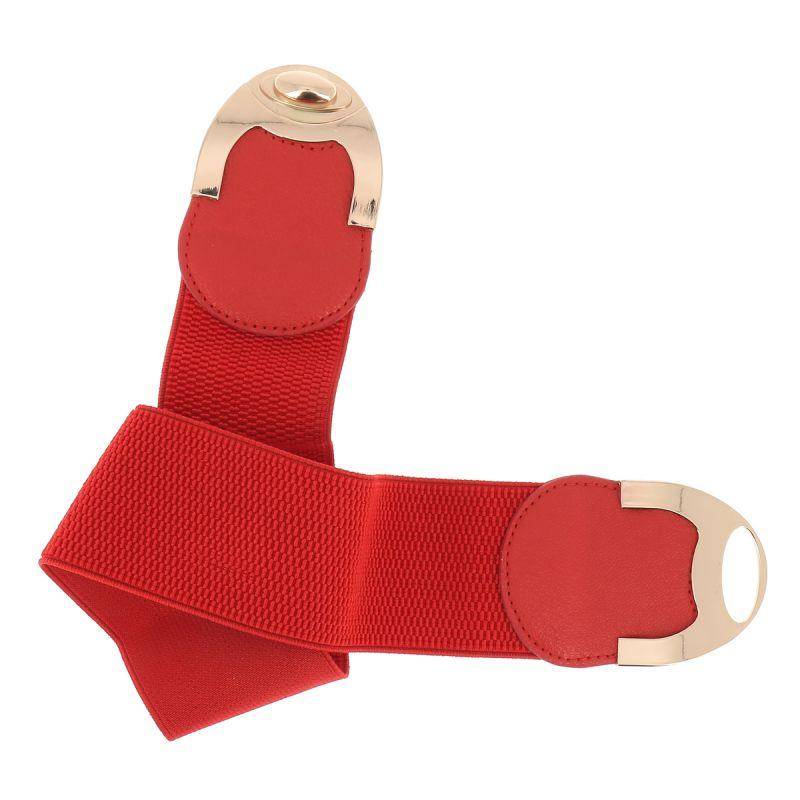 517767c62092 ... Ceinture corset élastique rouge boucle tourniquet doré