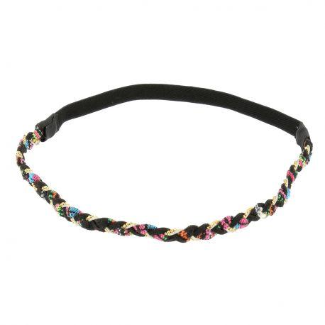 BandeauTressé Ethnique Noir et Coloré - Bijoux de Tête - Accessoire Cheveux