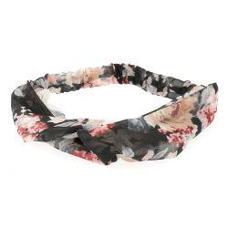 Bandeau Turban Voile Noir à Fleurs - Bandeau Cheveux - Accessoire Cheveux