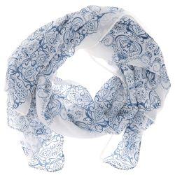 Foulard Blanc et Bleu Imprimé - Foulard Femme