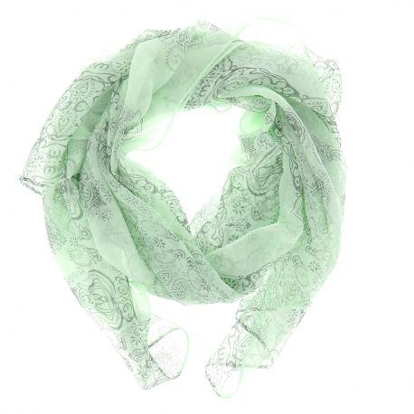 Foulard Voile Vert amande Imprimé - Foulard Femme