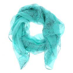 Foulard Voile Turquoise Imprimé - Etole Mariage