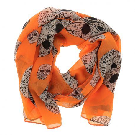 Foulard Voile Orange Tête de Mort - Echarpe Femme