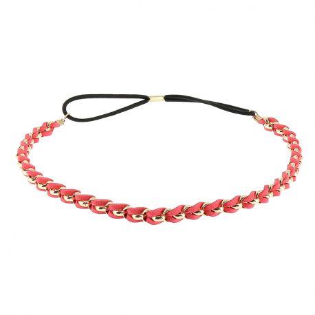 Headband doré suédine rouge corail - Bandeau Elastique