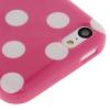 Coque Iphone 5C Rose vif à pois blancs