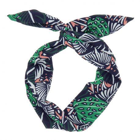 Bandeau à Nouer Tropical Bleu marine - Bandeau Cheveux