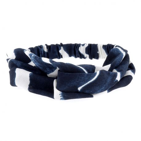 Bandeau Turban Bleu marine et Blanc