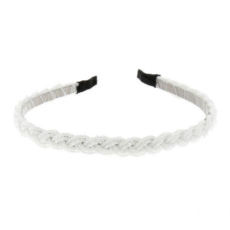 Serre tête Perles Tressées Blanc