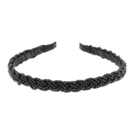 Serre tête Perles Tressées Noir