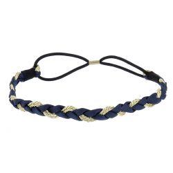 Headband Ruban Bleu marine et Doré - Headband Bohème